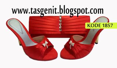 tas pesta merah, sepatu merah, sepatu pesta, high heels, clutch bag merah