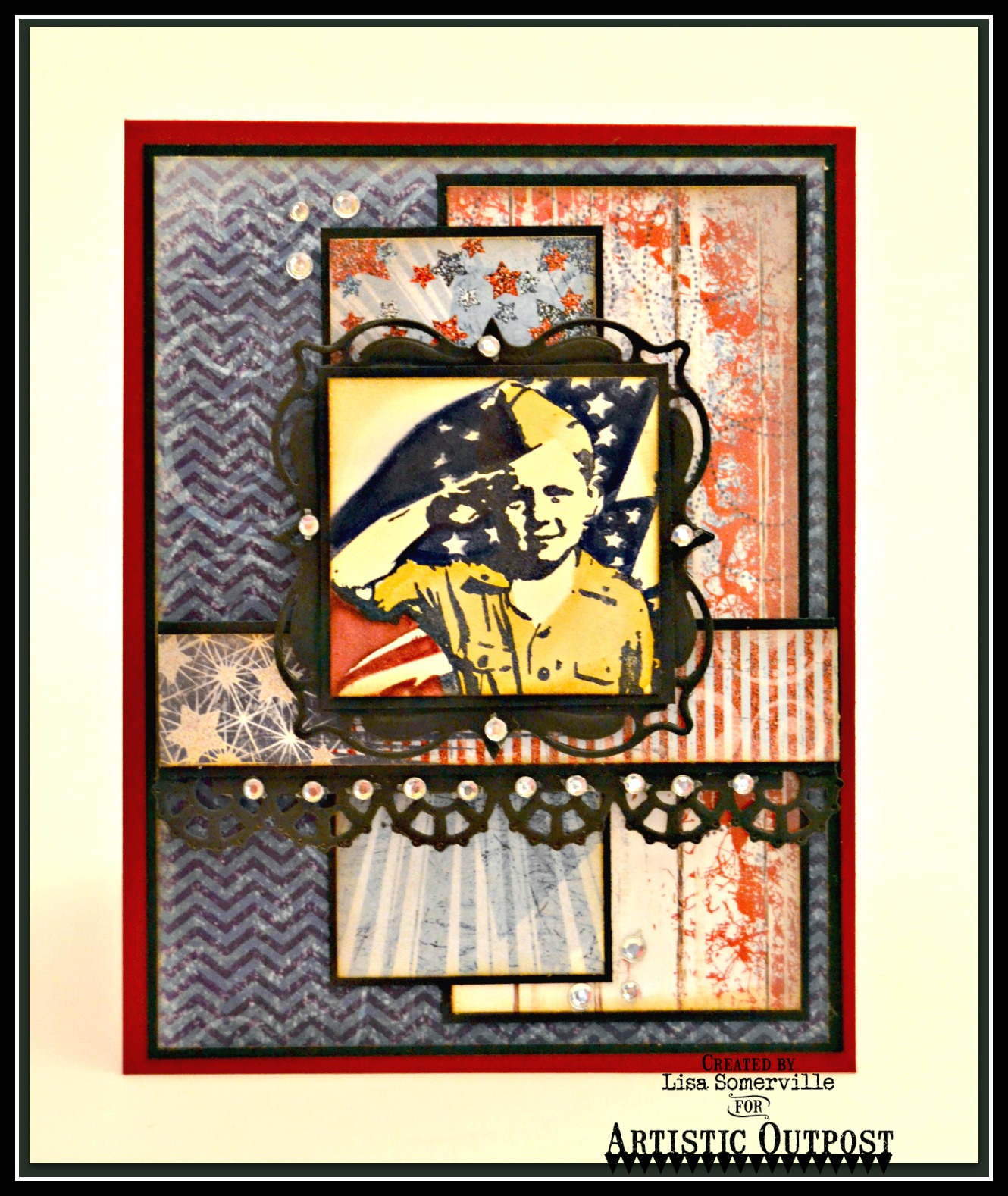 Stamps - Artistic Outpost Hero, Our Daily Bread Designs Patriotic Paper Collection, ODBD Custom Dies: Layered Lacey Squares