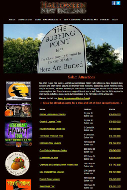 Salem Attraction Guide on Halloween New England