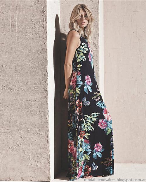 Primavera verano 2015 Etiqueta Negra Mujer Vestidos largos. Moda primavera verano 2015.