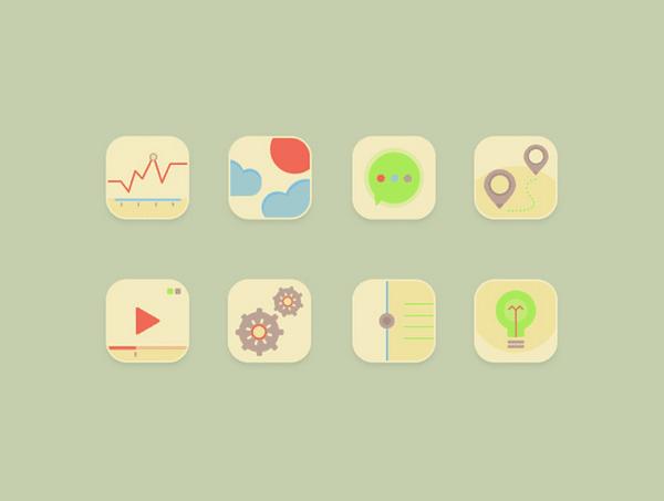 8 pastel icons