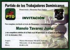 PTD rendirá homenaje a Manolo Tavarez Justo este miercoles