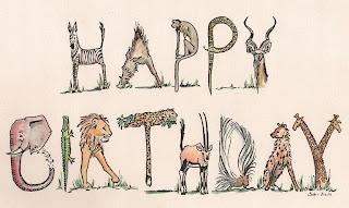 Africa animal birthday card design by Sophie Neville