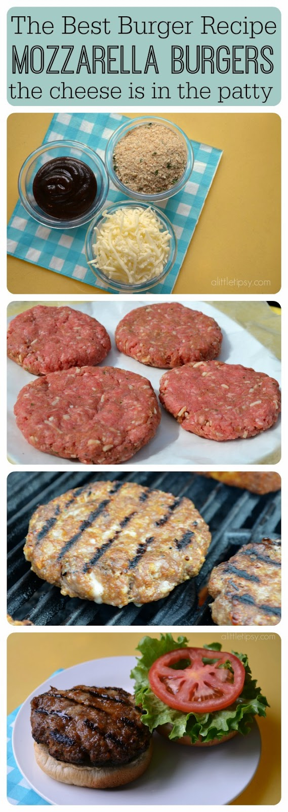 Best Burger Recipe collage showing ingredients and steps to make the delicious burger recipe