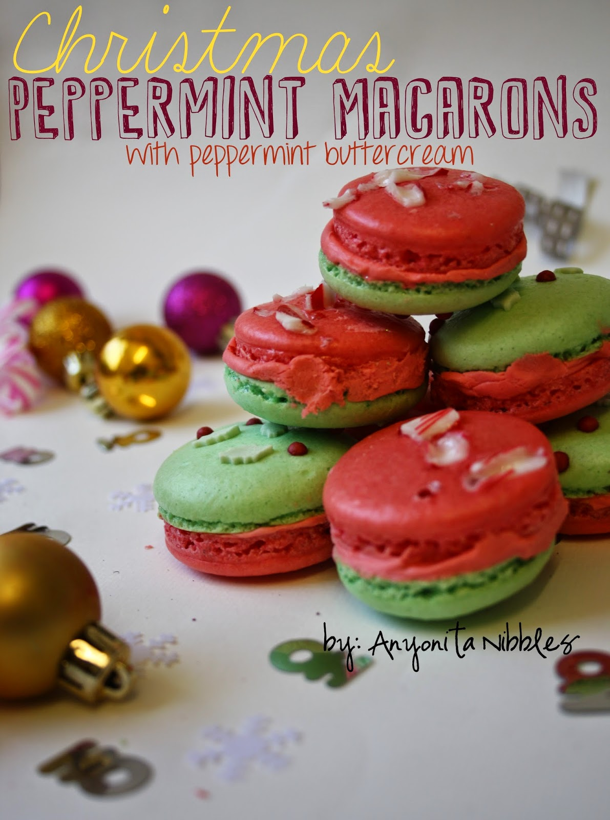 Gluten Free Christmas Peppermint Macarons with Peppermint Buttercream from anyonita-nibbles.co.uk