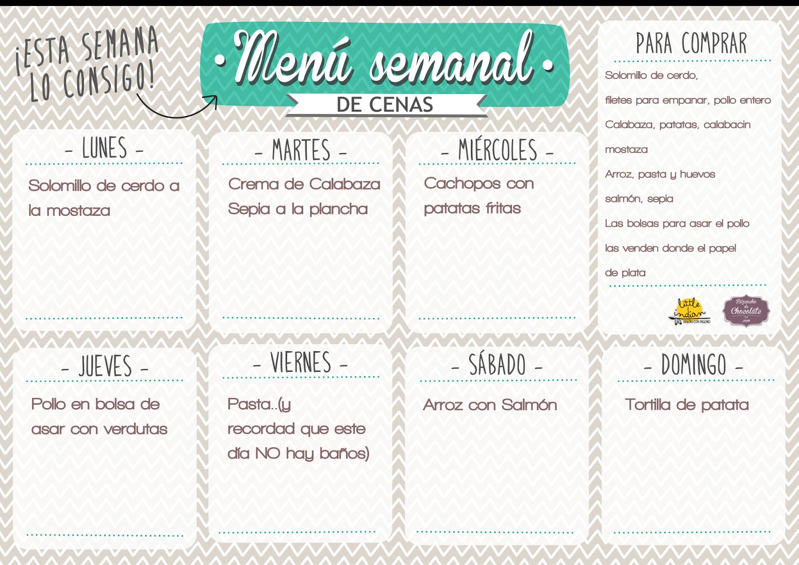 Bizcocho de Chocolate: menu semanal