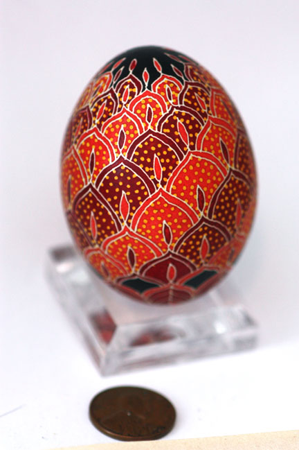 Red and Scarlet Flame Ukrainian Easter Egg Pysanka