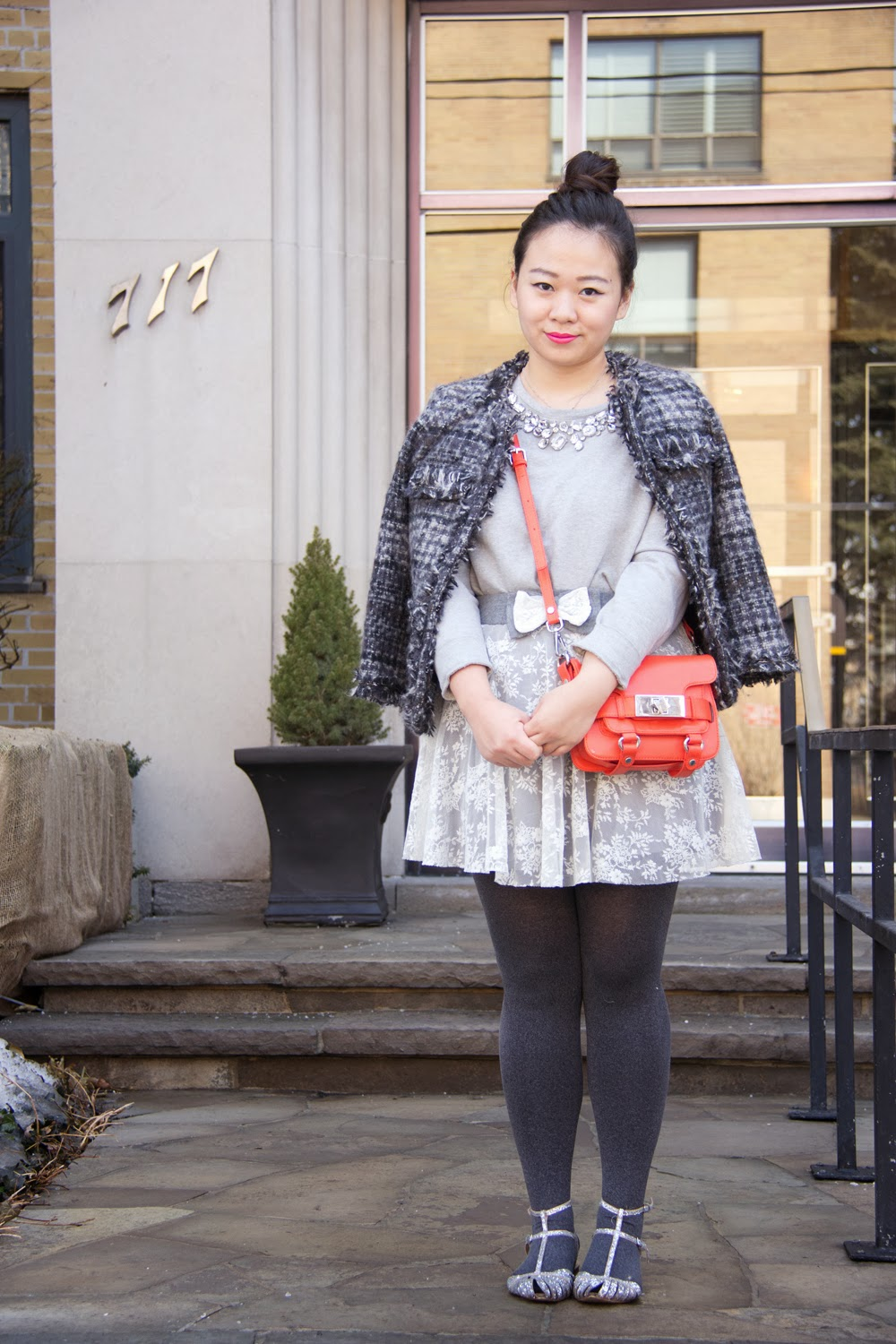 Tweed-Jacket, Embellished-Pullover, Lace-Skirt-With-Bow, Zara-mini-purse