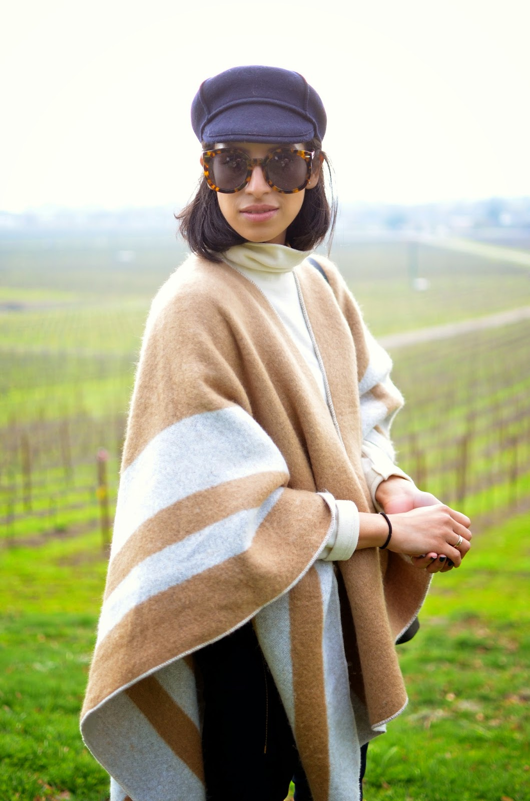 what to wear in wine country, how to style a cape, how to style a turtleneck, neutrals