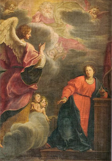 the annunciation of mary, painting, gabriel, mary, fabrizio boschi