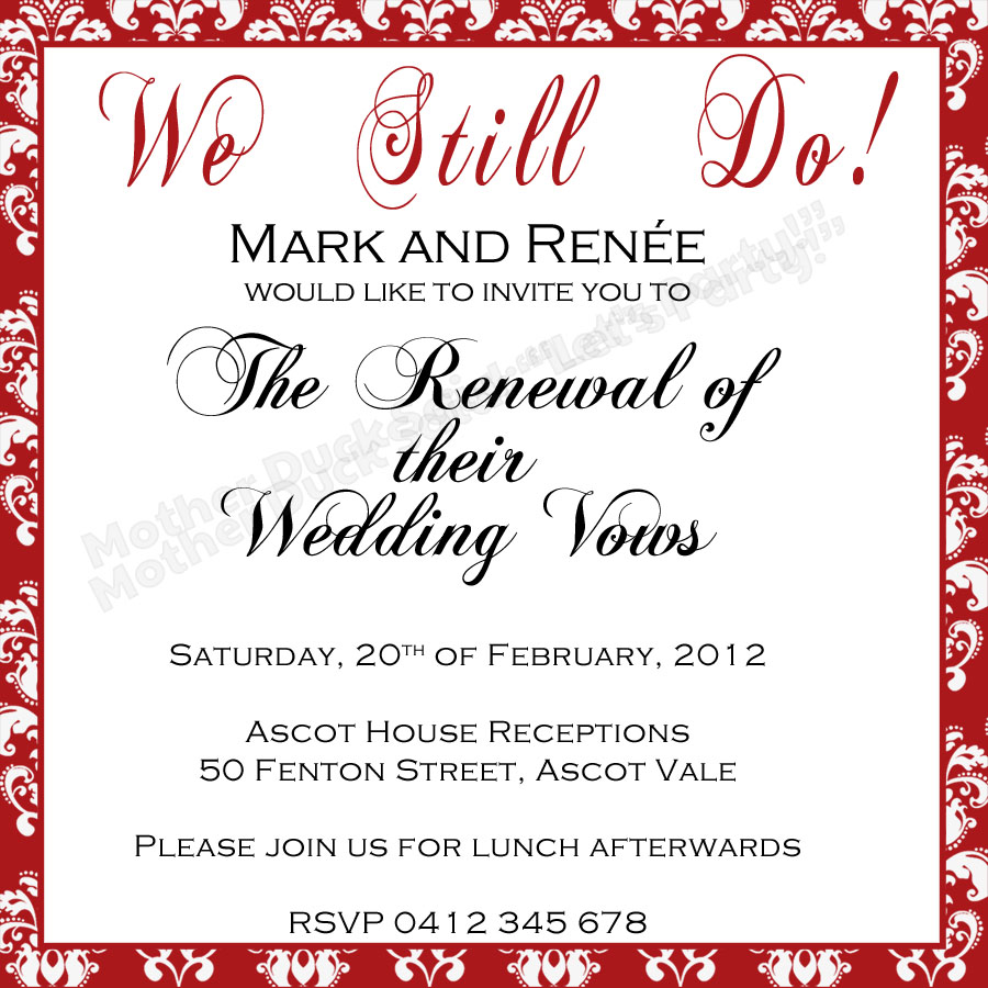 Renewal Of Vows Invitations
