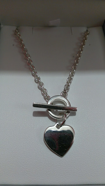 Dew Silver 925 T-bar Heart Necklace closer
