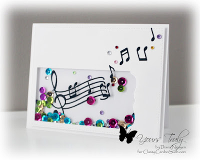 Diana Nguyen, shaker, card, Poppystamps, Musical Staff, Sequins