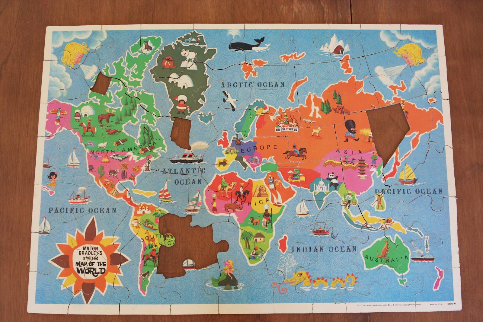 Picnics in the Park: Design Notes:Vintage Milton Bradley World Map ...