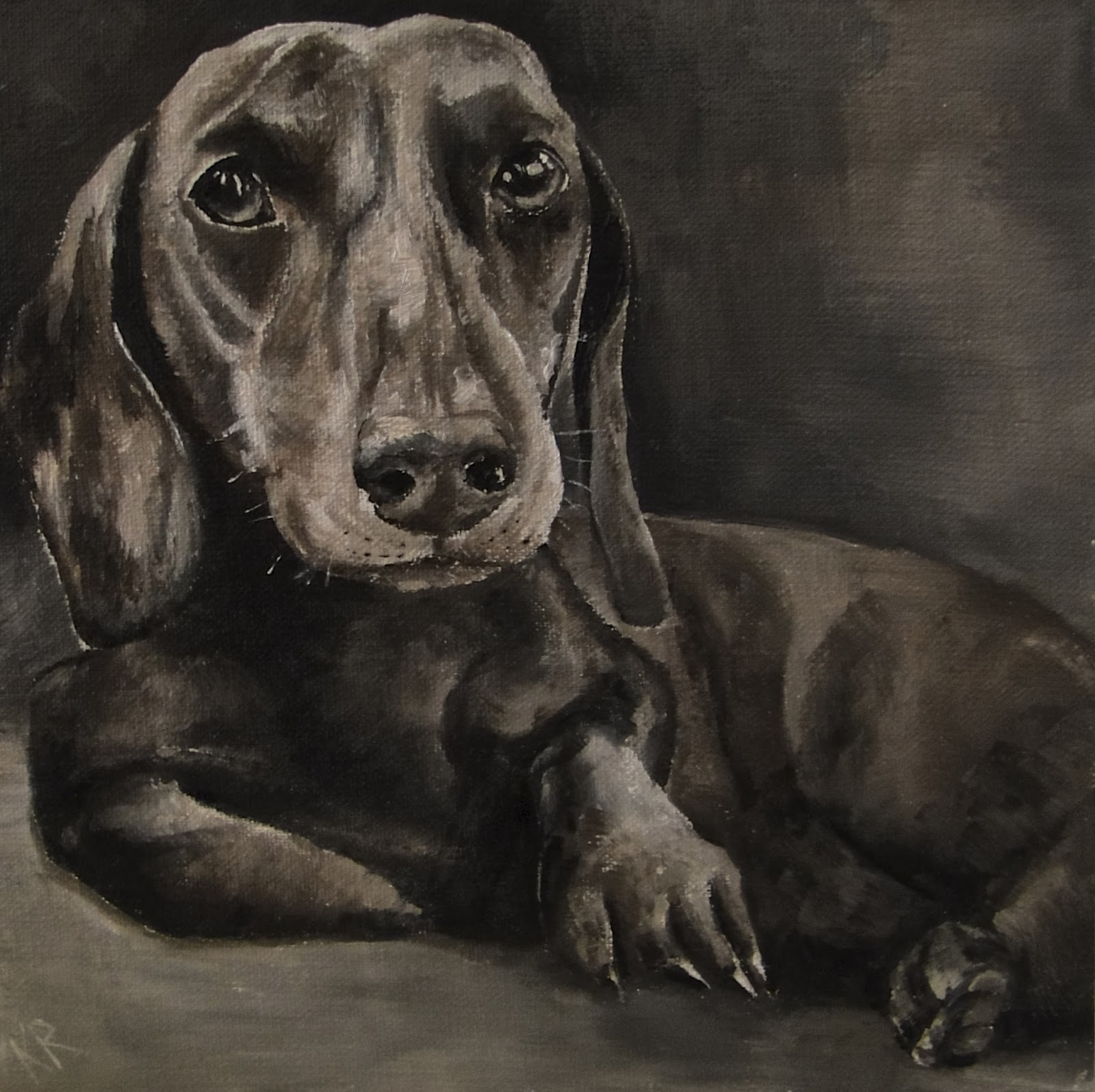 oil painting of a dachshund in black and white, after Landseer, a pet portrait by Karen, Devon