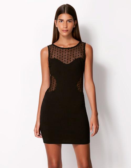 transparan yaka siyah gece elbisesi