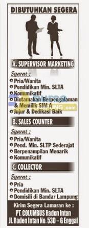 Jobs Lampung 20 Agustus 2014 - PT. Columbus