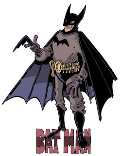 Batman had purple gloves (gauntlets) and a utility belt clearly intended for utility, and a cape that looked like wings