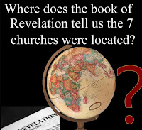 a graphic (c) Erika Grey Where does the book of Revelation tell us the 7 churches were located? featuring a globe next to an open Bible open to the book of Revelation, with a giant question mark and the title over the top reads, Where does the book of Revelation tell us the 7 churches were located?