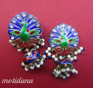 peacock jhumkis enamelled from Rajasthan