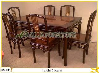 Meja dan Kursi Makan Kayu Jati Ukiran Taichi 6 Kursi