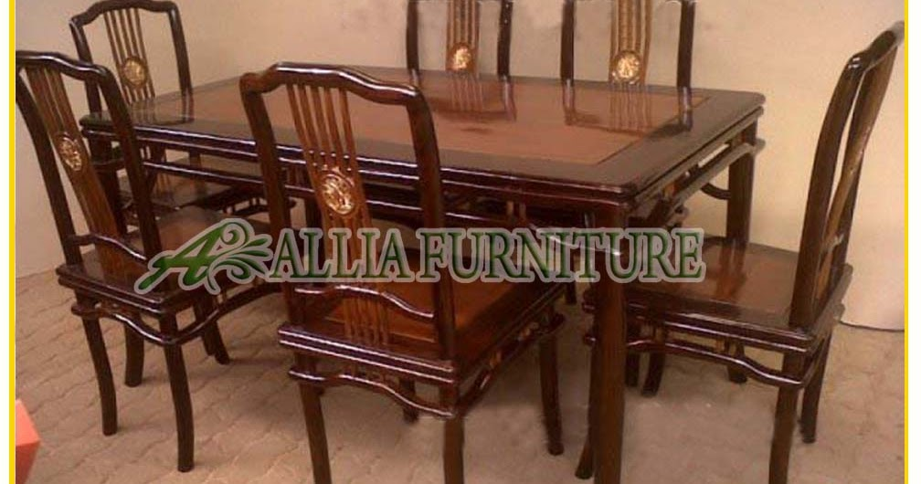 Meja Kursi Makan Jati Ukiran Taichi Allia Furniture