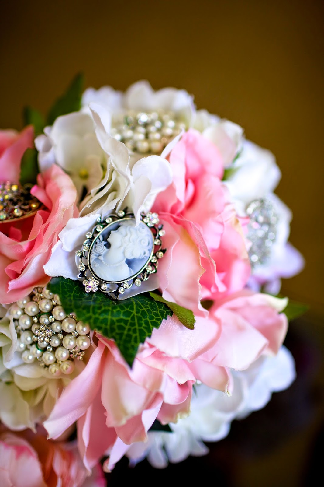 pink brooch bouquet