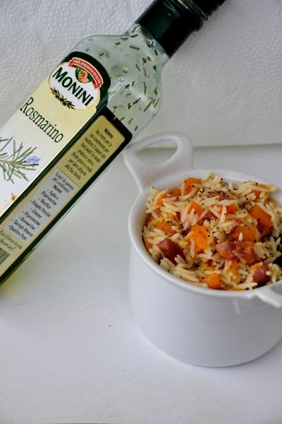 riso basmati alla zucca e pancetta affumicata con olio al rosmarino