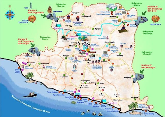Peta Wisata Pantai Gunung Kidul