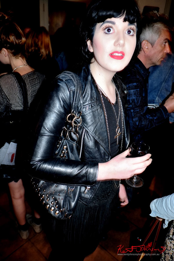 Liza Minnelli's eyes, black leather, Ankh on Chain - Art Opening - Street Fashion Sydney