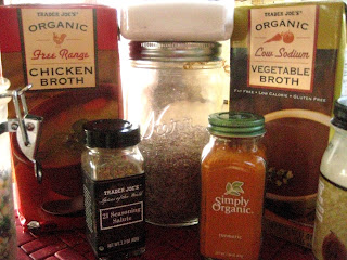 onelovejourney2012, one love journey 2012 recipes, trader joes seasonings, turmeric, flax seed, 21 seasoning salute, organic broths,