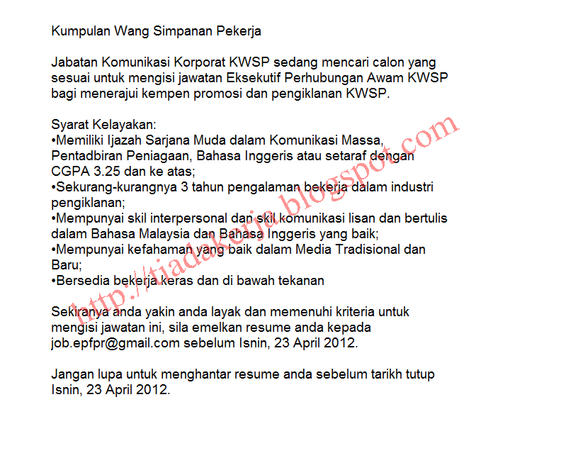 Tarikh Tutup Permohonan: 23 April 2012
