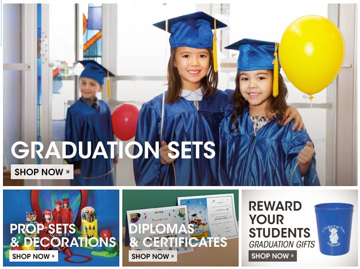 party supplies, caps, gowns, and more for kindergarten graduation