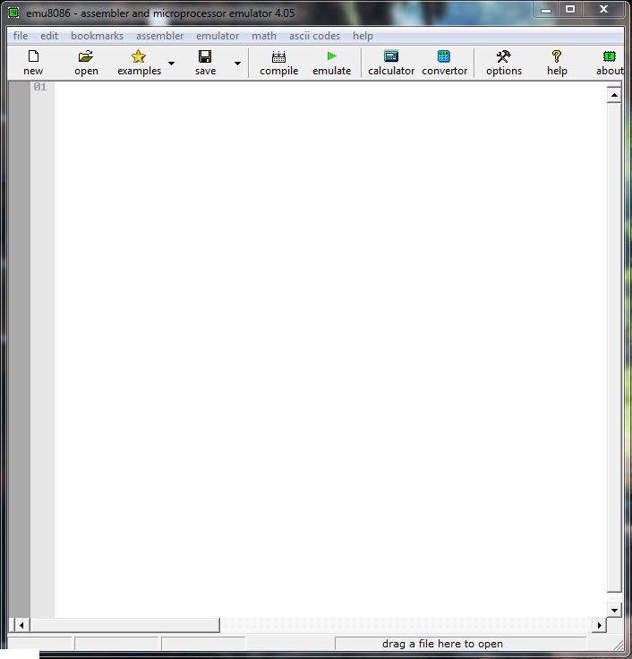 emu8086 code editor window