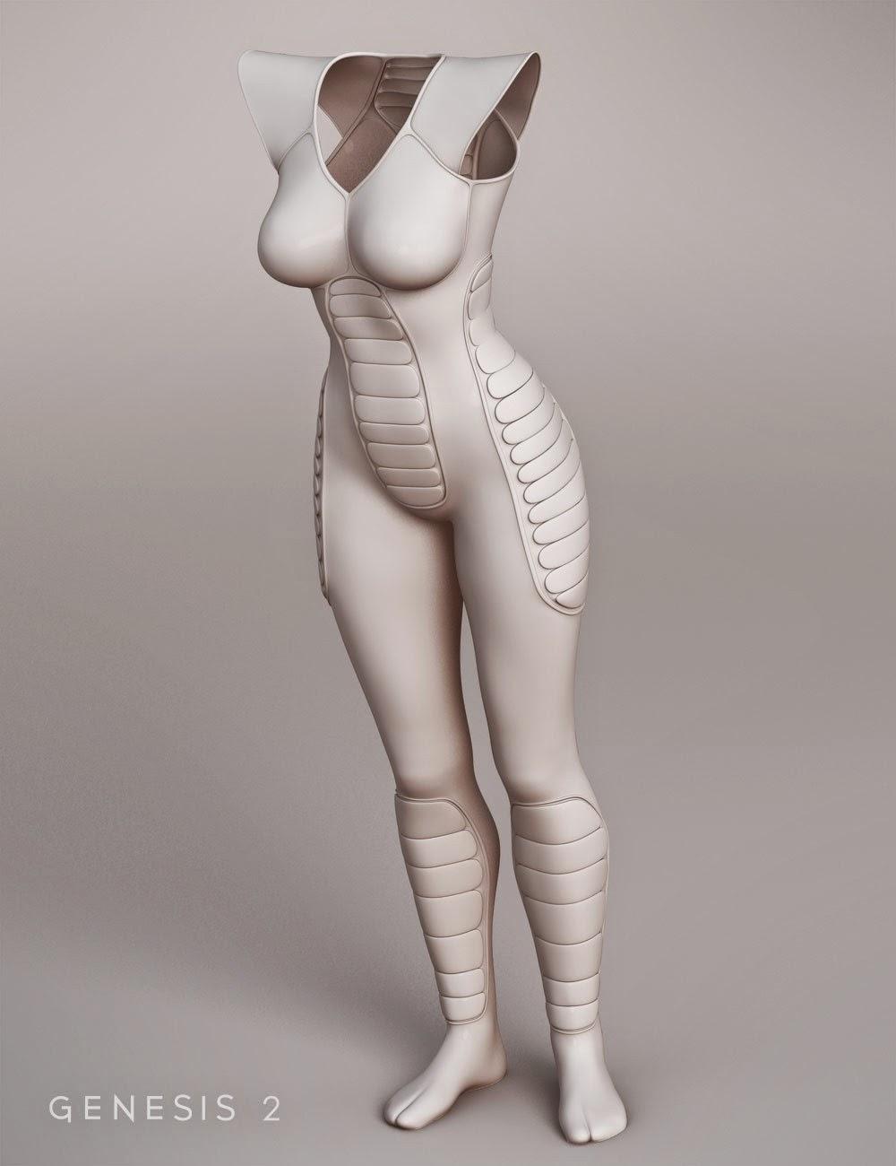 Costume rétro SciFi corps pour Genesis 2 Femme