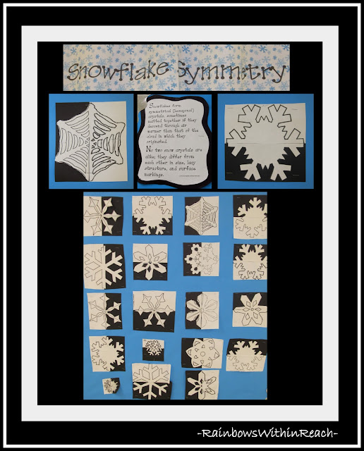 photo of: Snowflake Symmetry Art Project in the Elementary School Art Room via RainbowsWithinReach Winter RoundUP