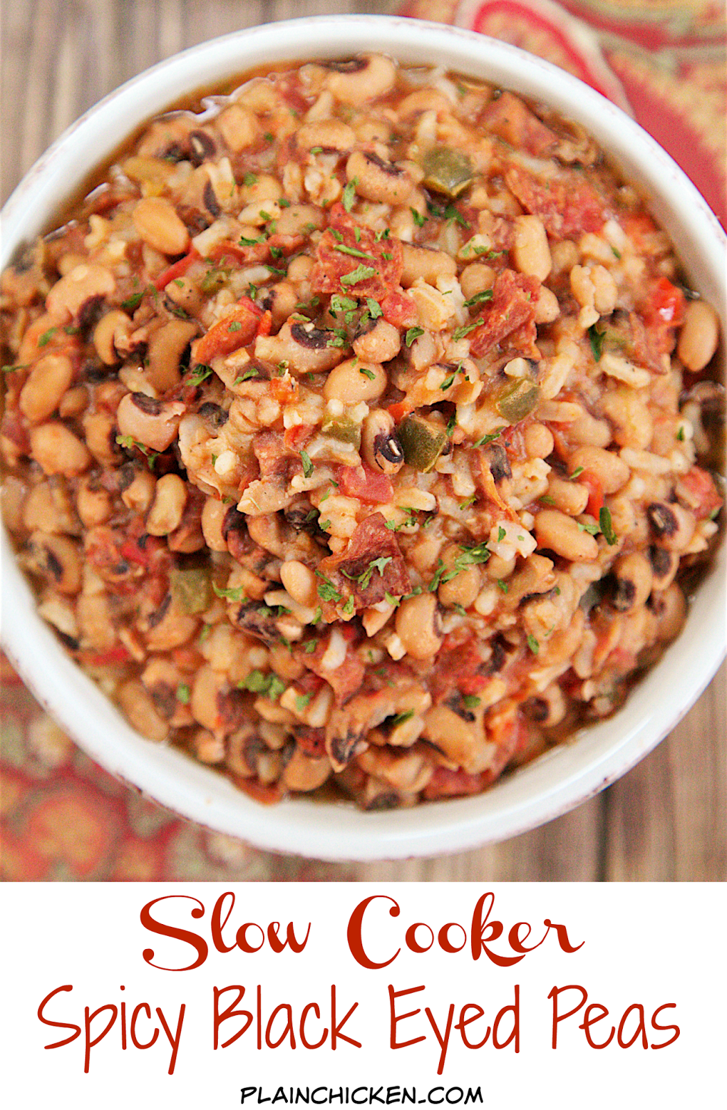 Slow Cooker Spicy Black Eyed Peas - black eyed peas, chicken broth, green onions, tomatoes, jalapeños , red pepper, pepperoni and rice. It is a meal in itself! Just add some greens and cornbread to complete the New Year's Day spread!
