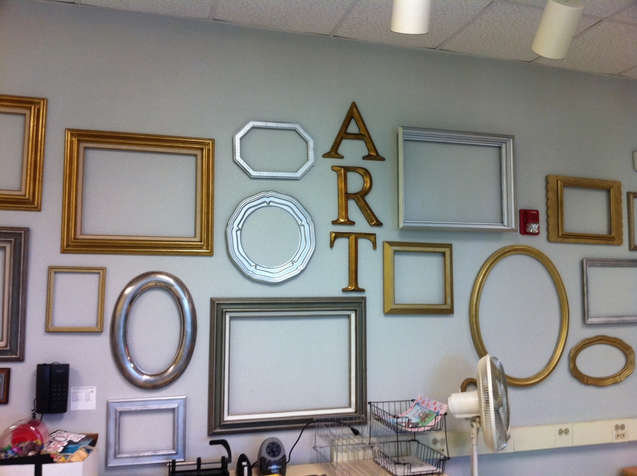 art frames were hung during the summer and they await to be filled