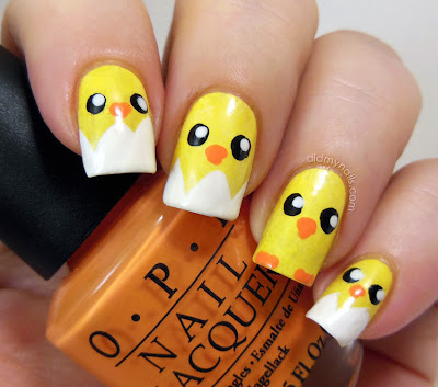 baby chick easter nail art