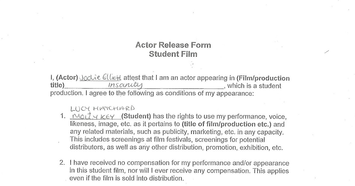 Actor Release Forms Camera Shot List Download Free Filmmaking