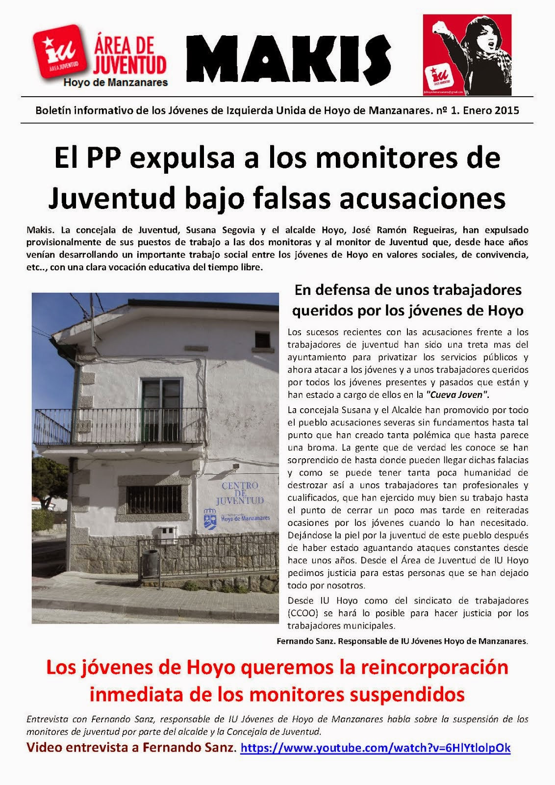 """""""MAKIS"""". Boletín de los jóvenes de IU de Hoyo de Manzanares"""