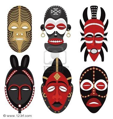 masque africain dessin couleur