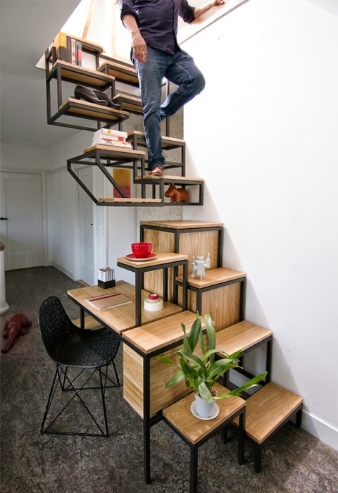 wood stairs with workplace