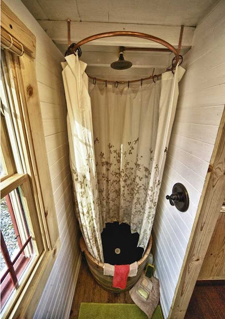 shower in a 170 sq foot home that goes in a bucket