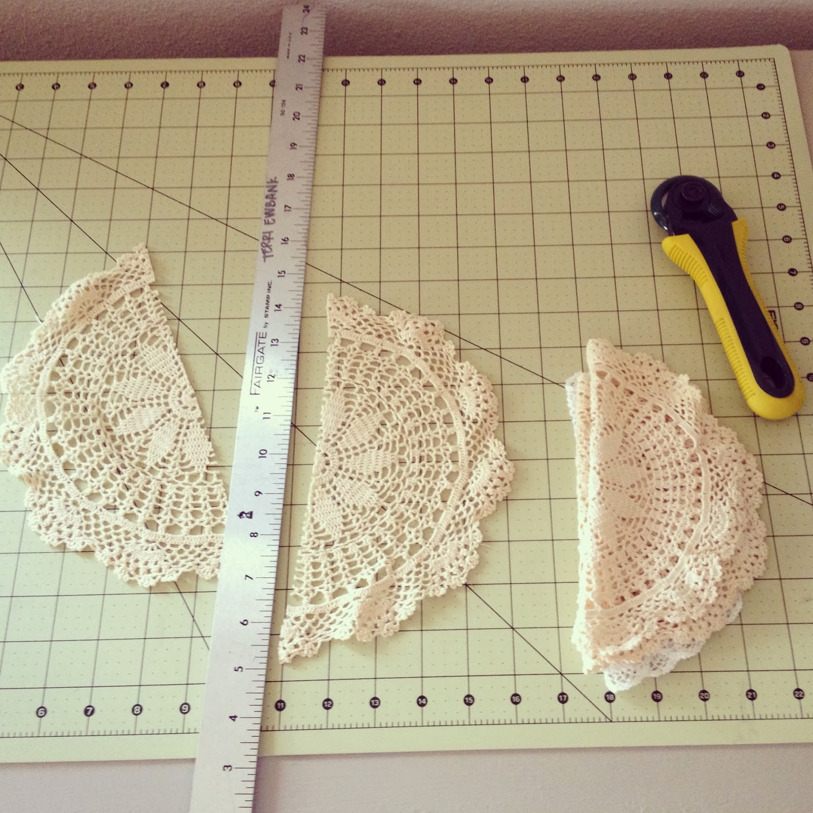 vintage doilies cut in half