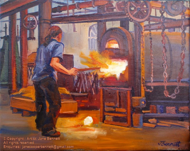 oil painting of Blacksmith painted at the Australian Technology Park, Eveleigh Railway Workshops by industrial heritage artist Jane Bennett