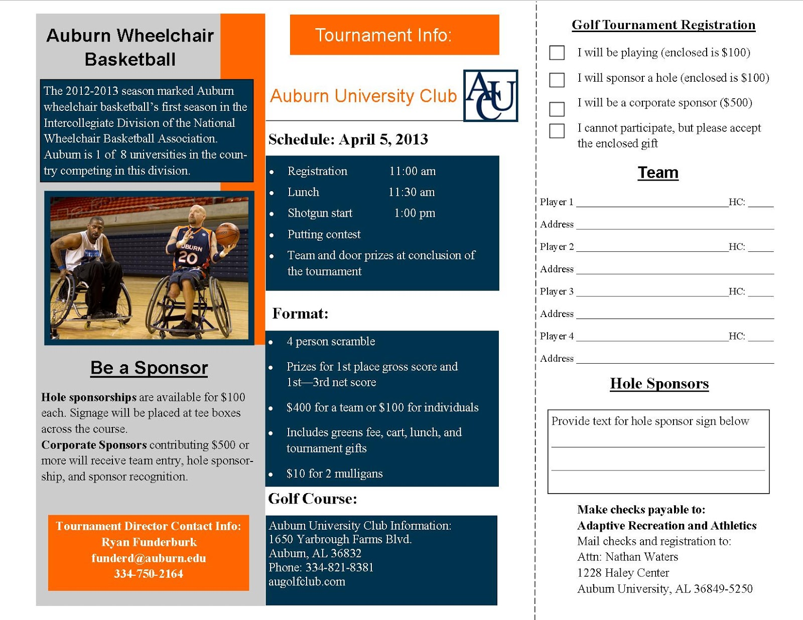 Au adaptive charity golf tournament for Golf tournament program template