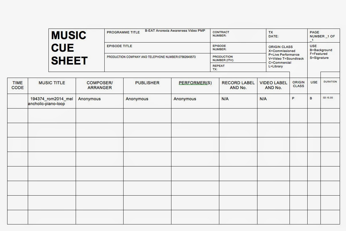 Lighting Cue Sheet Template - Democraciaejustica