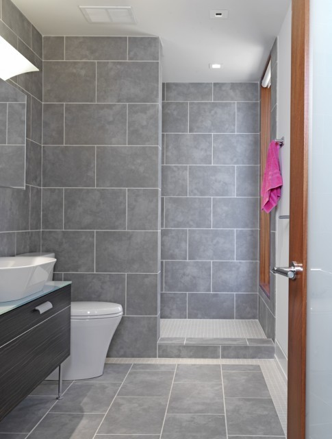 Here S A Simple Small Grey Bathroom I Like How They Used The Same Brick Tile