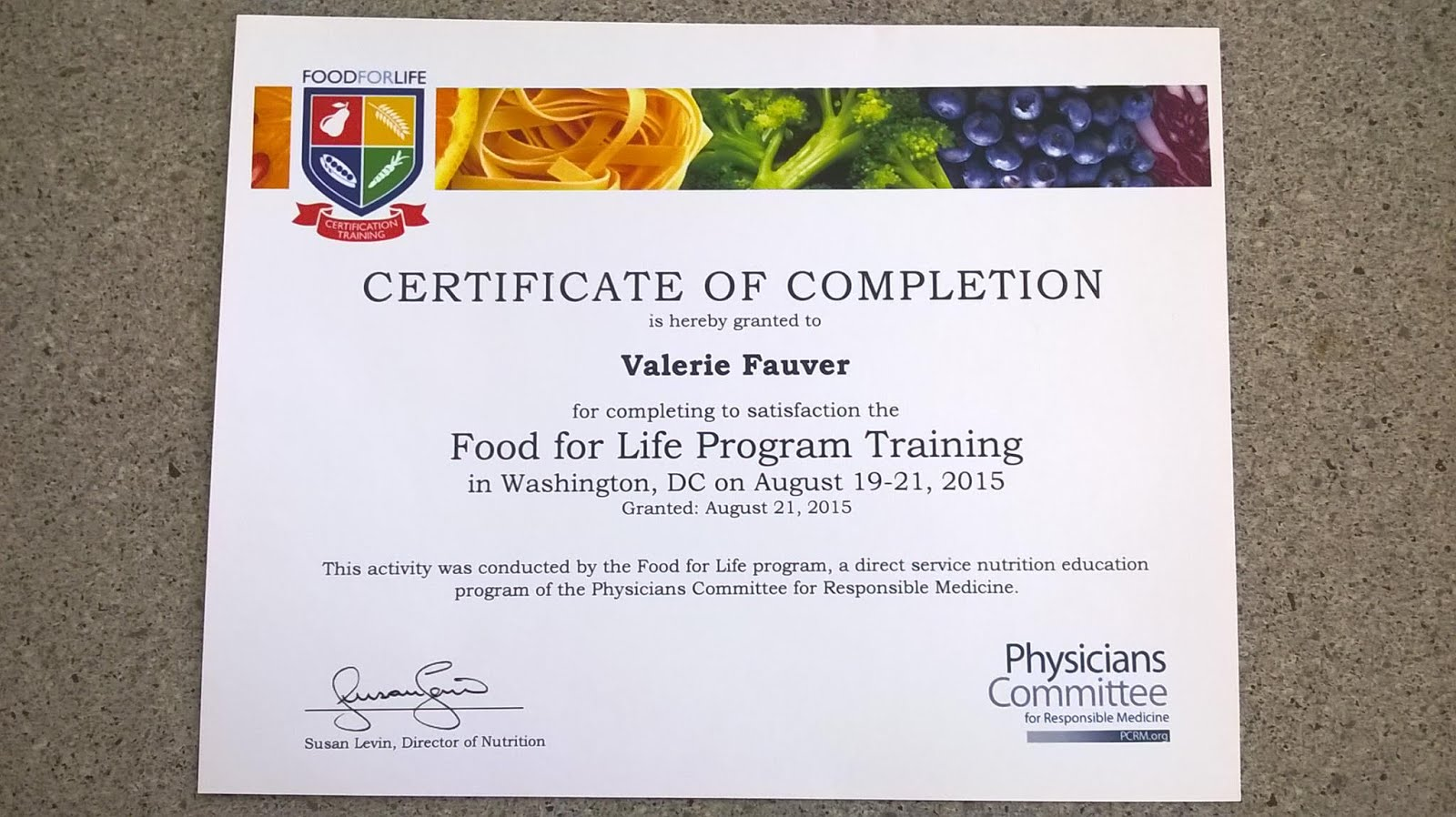 PCRM Food For Life Certified Instructor